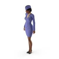 Light Skin Black Stewardess Standing Pose PNG & PSD Images