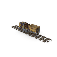 Mining Locomotive with Minecart on Railway Section Rusted PNG & PSD Images