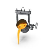 Molten Metal Pouring from Foundry Ladle PNG & PSD Images