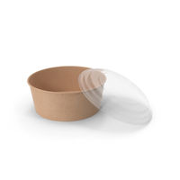 Kraft Paper Food Bowl with Clear Lid for Soup for Salad 50 Oz 1500 ml Open PNG & PSD Images