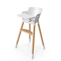 Wooden Adjustable Baby High Chair PNG & PSD Images