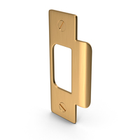 Door Lock Strike Plate Golden With Screwhead PNG & PSD Images