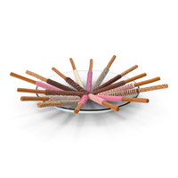 Plate with Assorted Dipped Pretzel Rods PNG & PSD Images