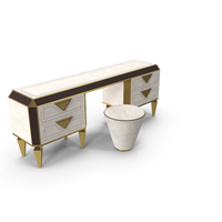 Diamante Vanity Table & Pouf PNG & PSD Images