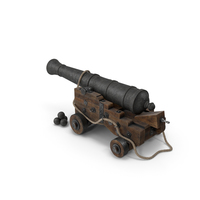 Medieval Gun on Gun Carriage with Rope and Cannonballs PNG & PSD Images