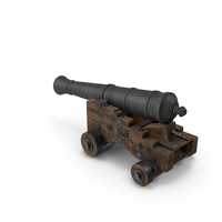 Medieval Gun on Gun Carriage Lowered PNG & PSD Images