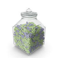 Square Jar with Yogurt Covered Pretzels PNG & PSD Images
