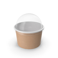 Kraft Paper Food Cup with Clear Lid for Dessert 6 Oz 150 ml PNG & PSD Images