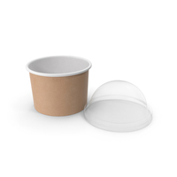 Kraft Paper Food Cup with Clear Lid for Dessert 8 Oz 200 ml Open PNG & PSD Images