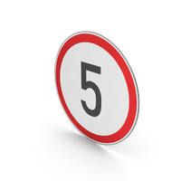 Road Sign Speed Limit 5 PNG & PSD Images