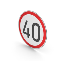 Road Sign Speed Limit 40 PNG & PSD Images