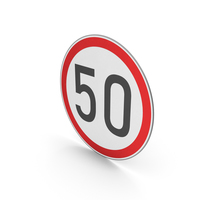 Road Sign Speed Limit 50 PNG & PSD Images