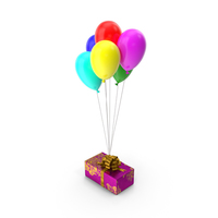 Giftbox With Balloons Multicolor PNG & PSD Images
