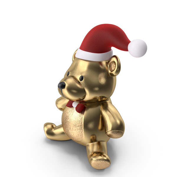 Christmas Teddy Bear Gold PNG & PSD Images