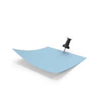 Blue Paper with Black Pin PNG & PSD Images