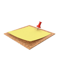 Yellow Sticky Note Pinned to Wall with Red Pin PNG & PSD Images
