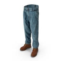 Men's Boots Jeans 10 Dark Blue Brown PNG & PSD Images