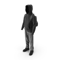 Men's Boots Jeans T-shirt Hoodie Hat Backpack Black PNG & PSD Images