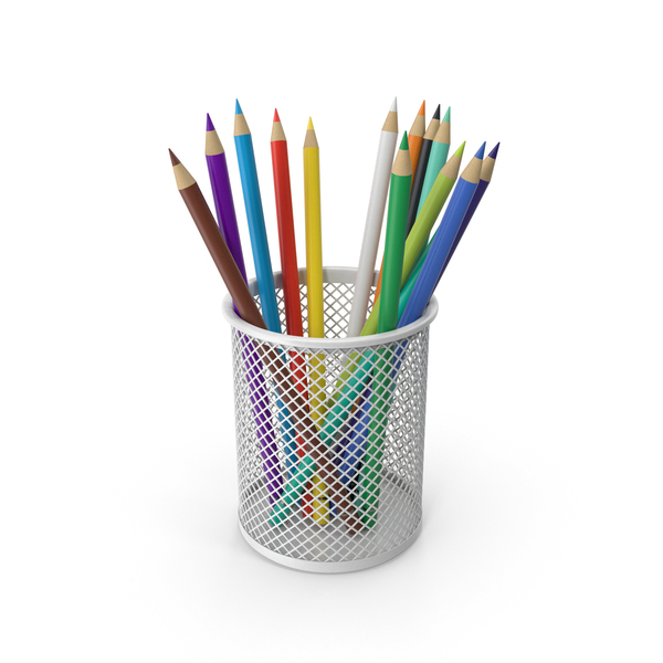 Pencil Cup With Colored Pencils PNG & PSD Images