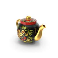 Vintage Khokhloma Ornament Teapot PNG & PSD Images
