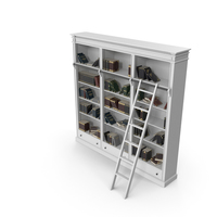 Classic White Bookcase with Books PNG & PSD Images