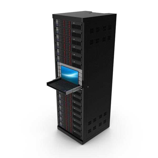 Full Server Rack with Laptop on Sliding Rack Shelf PNG & PSD Images
