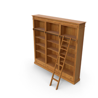 Wood Bookcase with Ladder PNG & PSD Images
