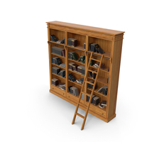 Wood Library Bookcase with Books PNG & PSD Images