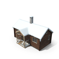 Mountain Cabin with Snow PNG & PSD Images