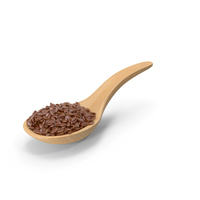 Wooden Spoon with Flax Seeds PNG & PSD Images