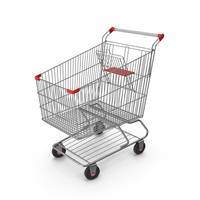 Shopping Сart with Red Plastic PNG & PSD Images