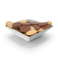 Square Bowl with Chocolate Covered Circular Crackers PNG & PSD Images