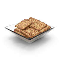 Square Bowl with Spicy Seasoned Square Crackers PNG & PSD Images