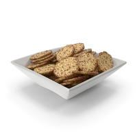 Square Bowl with Octagon Crackers with Flax and Poppy Seeds PNG & PSD Images