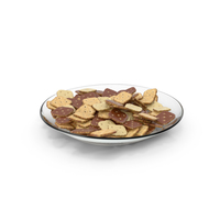 Plate with Chocolate Covered Mini Rhombus Crackers PNG & PSD Images