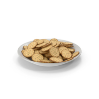 Plate with Circular Crackers with Seasoning PNG & PSD Images