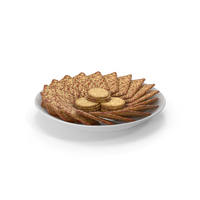Plate with Organized Seasoned Square Crackers PNG & PSD Images