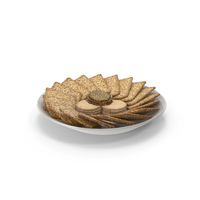 Plate with Organised Crackers with Various Seeds PNG & PSD Images