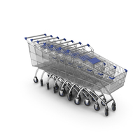 Line Of Shopping Carts with Blue Plastic PNG & PSD Images