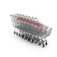 Line Of Shopping Carts with Red Plastic PNG & PSD Images