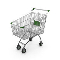 Supermarket Сart with Green Plastic PNG & PSD Images