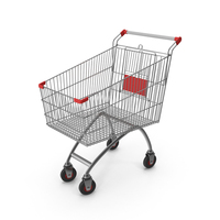 Supermarket Сart with Red Plastic PNG & PSD Images