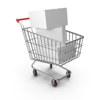 Shopping Cart with White Boxes PNG & PSD Images