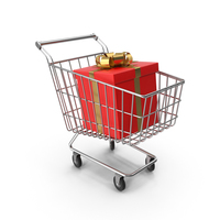 Shopping Cart with White Gift Box PNG & PSD Images