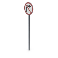 Traffic Sign No Right Turn With Pole PNG & PSD Images