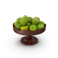Fancy Wooden Bowl with Green Apples PNG & PSD Images