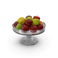 Fancy Crystal Bowl With Apples PNG & PSD Images