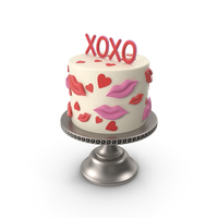 XOXO Valentine's Day Cake PNG & PSD Images