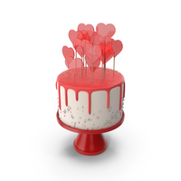 Valentines Day Cake with Heart Lollipops PNG & PSD Images