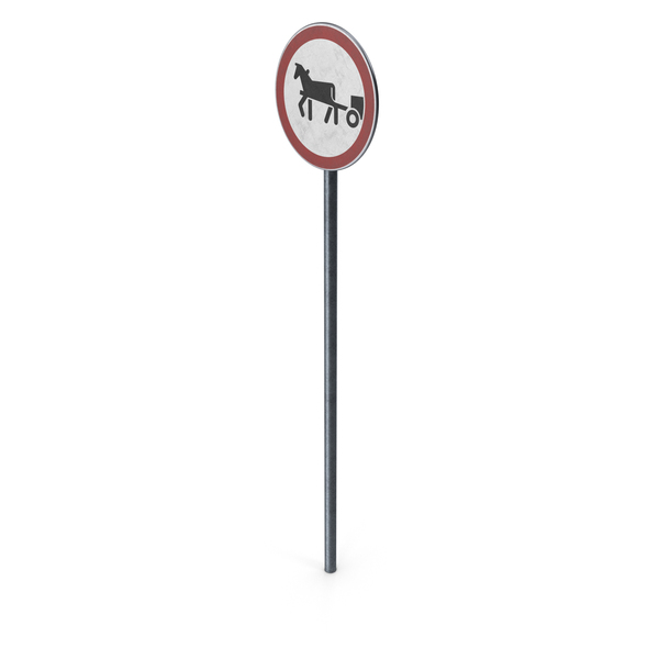 Traffic Sign Horse Drawn Vehicles Prohibited With Pole PNG & PSD Images